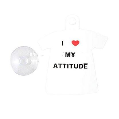 Picture of I Love My Attitude PVC Hanging Tag for Windshield - Black & White