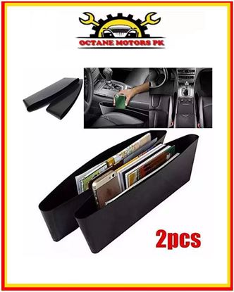 Picture of Car Seat Gap Filler & Pocket Organizer - Between Seat and Console - Premium Leather Caddy for Automotive Interior Accessories - Side Seat Catcher (2Pcs)