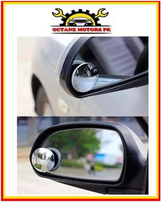 Picture of 2pcs Car Rearview Convex Mirror Parking Safety 360 Degree Rotable Rimless Universal Wide Angle Round Blind Spot Mirror Silver